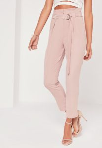$41 tall pink paperbag waist cigarette pants from missguidedus.com