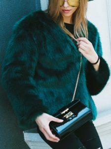Dark green collarless open front faux fur coat, $50, choies.com