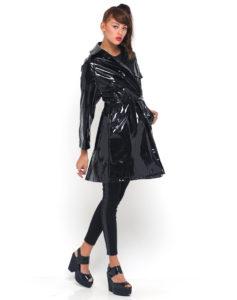 Mac trench coat in black vinyl, $42, motelrocks.com