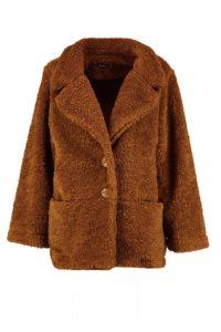 Molly teddy faux fur coat, $86, boohoo.com
