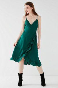 Ruffle hem satin wrap midi dress, $20, urbanoutfitters.com