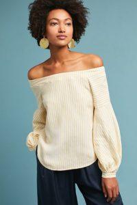 Clotille off-the-shoulder blouse, $88, anthropologie.com