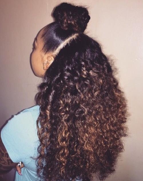 half bun curly