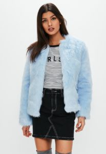 Light blue collarless faux fur coat, $55, missguidedus.com