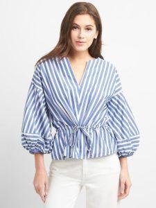 Stripe balloon sleeve top with cinched waist, $63, gap.com