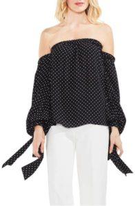 Vince Camuto poetic dots off the shoulder blouse, $103, nordstrom.com